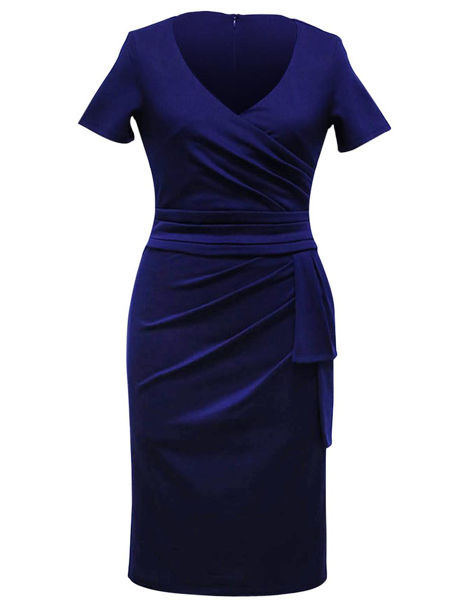 Graceful Ruched V-Neck Solid Bodycon Dress