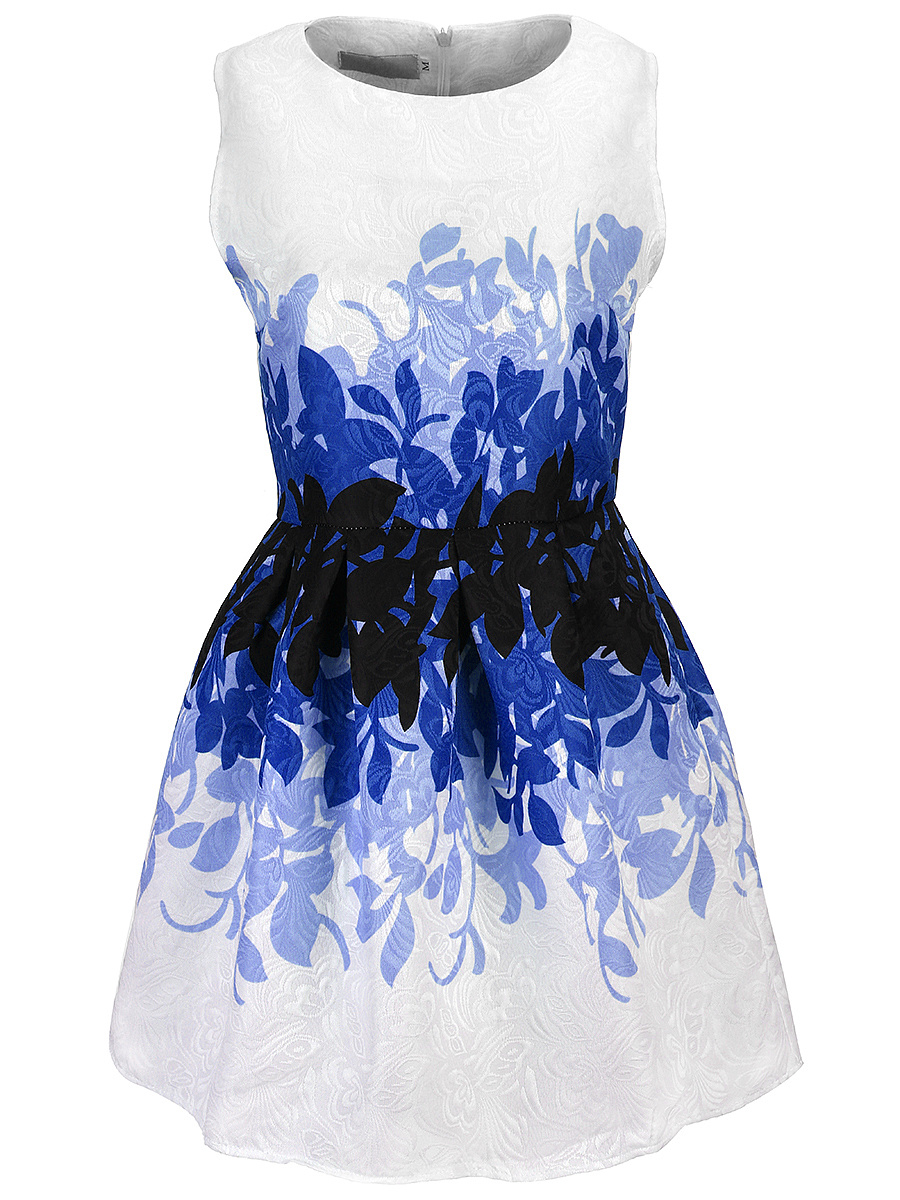 Awesome Printed Round Neck Jacquard Skater Dress