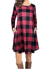 Round Neck Pocket Plaid Shift Dress
