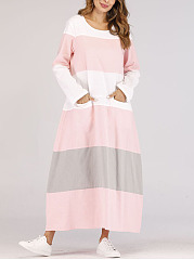 Col rond coloration robe maxi oversize