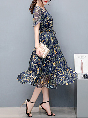 Round Neck Ruffled Hem Floral Hollow Out Chiffon Maxi Dress