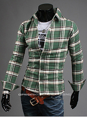 Turn Down Collar Check Men Shirts