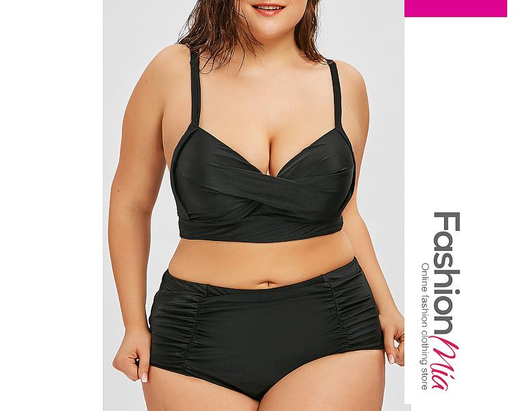 Plain  High-Rise Plus Size Swimwear