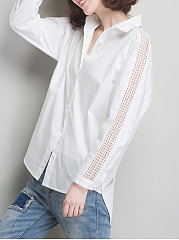 Autumn Spring  Cotton  Women  Turn Down Collar  Single Breasted  Hollow Out Plain  Long Sleeve Blouses