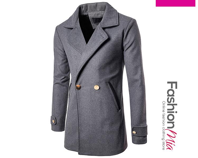 Image of Lapel Pocket Plain Longline Men Coat