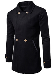 Lapel Pocket Plain Longline Men Coat