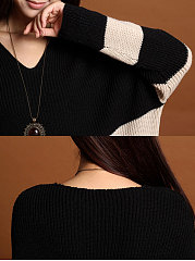 Round Neck  Striped  Long Sleeve Sweaters