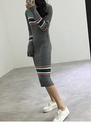 Crew Neck  Striped  Acrylic Knitted Dress