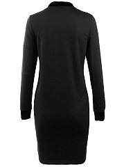 Women Band Collar Zips Bodycon Dress