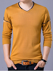 Fitted V-Neck  Printed Men Sweater