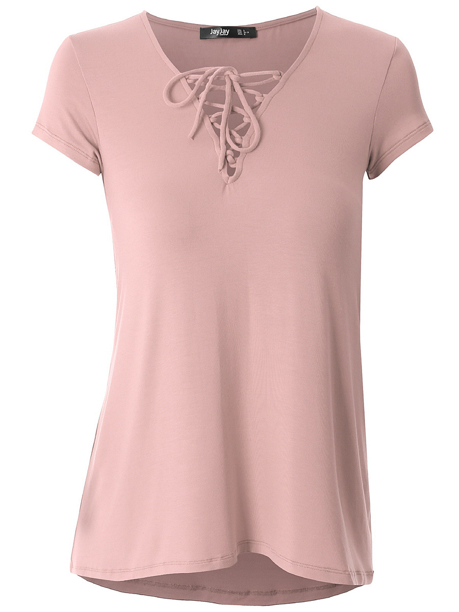 V-Neck  Lace-Up  Plain Short Sleeve T-Shirt