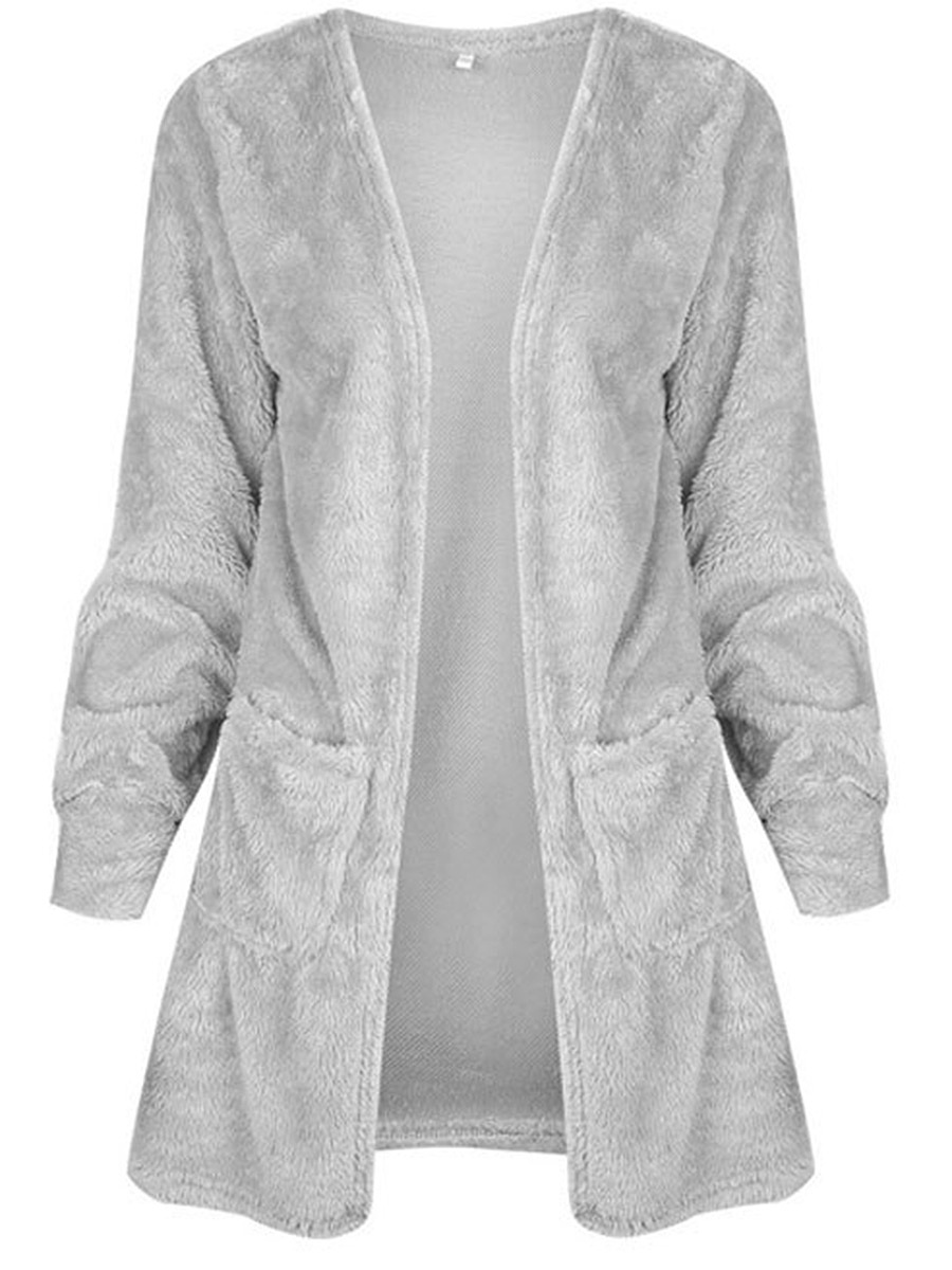Fluffy Collarless Patch Pocket Plain Cardigan