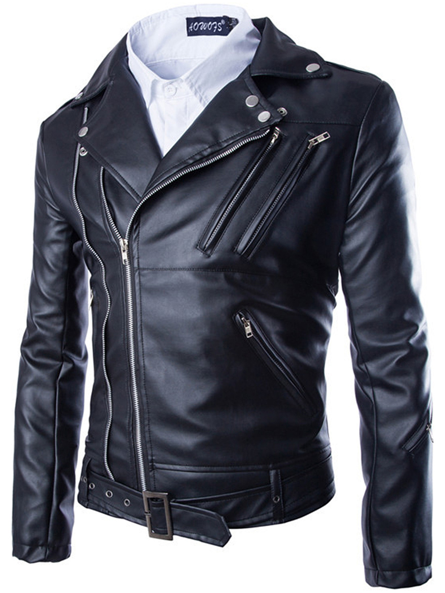Notch Lapel  Zips  Decorative Hardware  Plain Men Jacket
