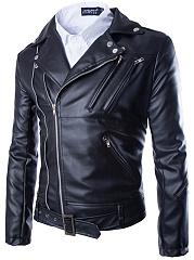 Notch-Lapel-Zips-Decorative-Hardware-Plain-Men-Jacket