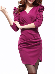 Surplice  Patchwork  Plain  Puff Sleeve Bodycon Dresses