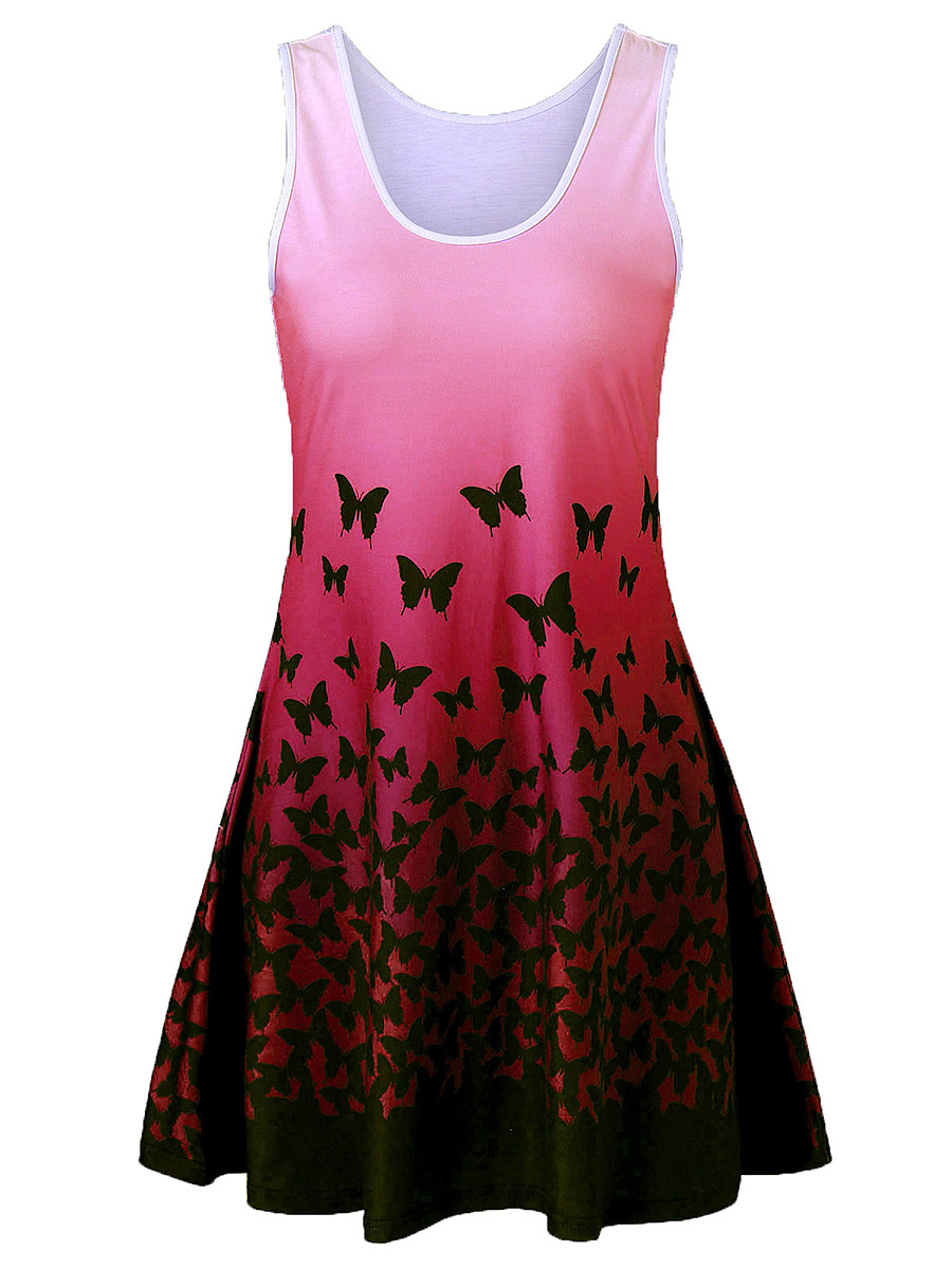 Round Neck Gradient Butterfly Printed Mini Tank Dress