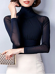 High Neck Plain See-Through Long Sleeve T-Shirt