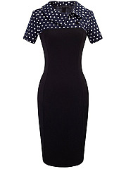 Fold-Over Collar  Polka Dot Bodycon Dress