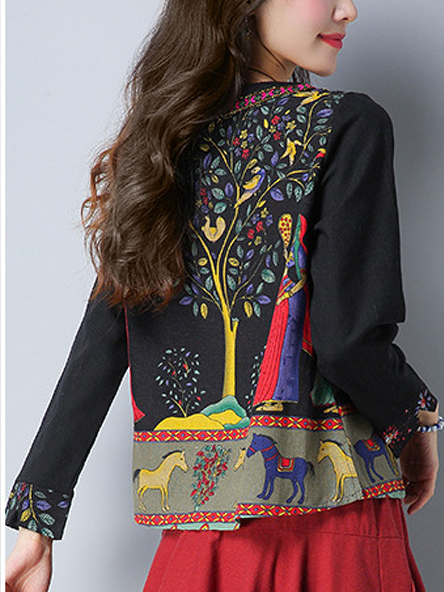 V-Neck  Animal Printed  Long Sleeve Blouses