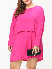 Loose Attractive Round Neck  Plain Plus Size Shift Dress