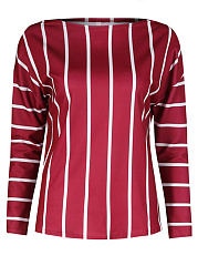 Open Shoulder  Striped  Long Sleeve Sweaters Pullover