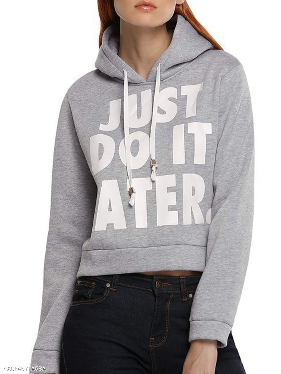 Hooded  Drawstring  Letters  Long Sleeve Hoodies