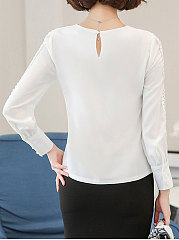 Autumn Spring  Blend  Women  Round Neck  Hollow Out Plain  Long Sleeve Blouses