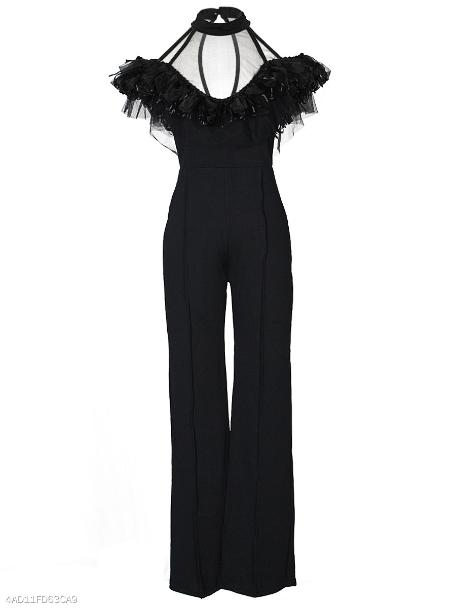Open Shoulder See-Through Plain Wide-Leg Jumpsuit