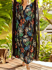 Deep V-Neck  Hollow Out Printed Plus Size Midi & Maxi Dress