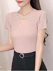 Round Neck  Beading  Plain  Short Sleeve Sweaters Pullover