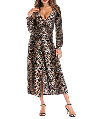 Surplice  Leopard Fashion Maxi Dress