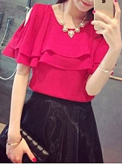 Spring Summer  Polyester  Women  Round Neck  Flounce  Plain  Short Sleeve Blouses