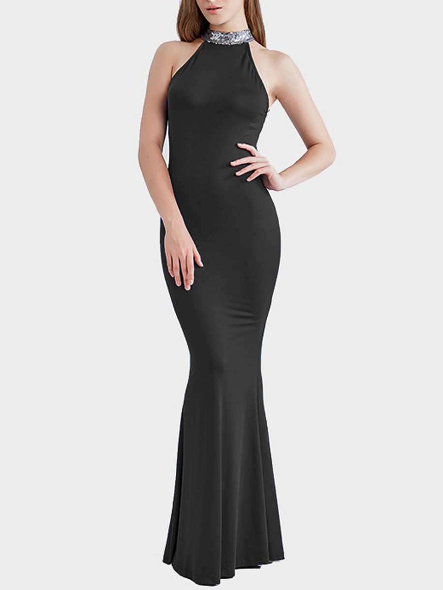 Band Collar Back Hole Glitter Maxi Dress