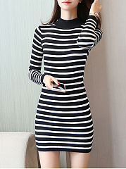 High-Neck-Striped-Mini-Knitted-Dress