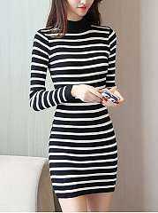 High Neck Striped Mini Knitted Dress