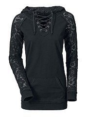 Lace-Up See-Through Plain Hoodie