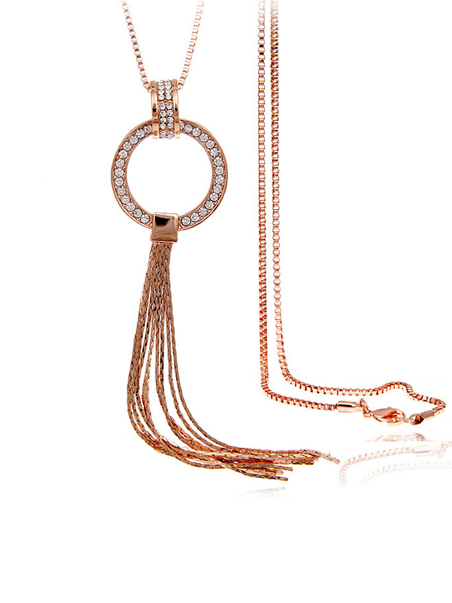 Tassel Pendant Rhinestone Long Necklace