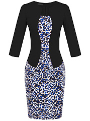 Elegant Leopard Belt Bodycon Dress