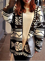 Collarless  Geometric  Long Sleeve Cardigans