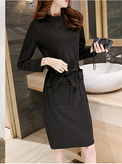 Round Neck  Patch Pocket  Belt  Plain Shift Dress