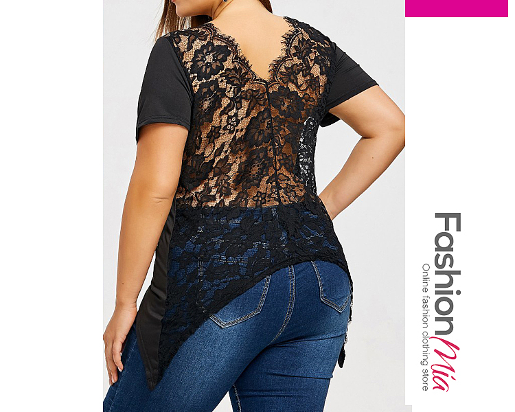 V-Neck  Decorative Lace  Lace Plain  Sleeveless Plus Size Blouse