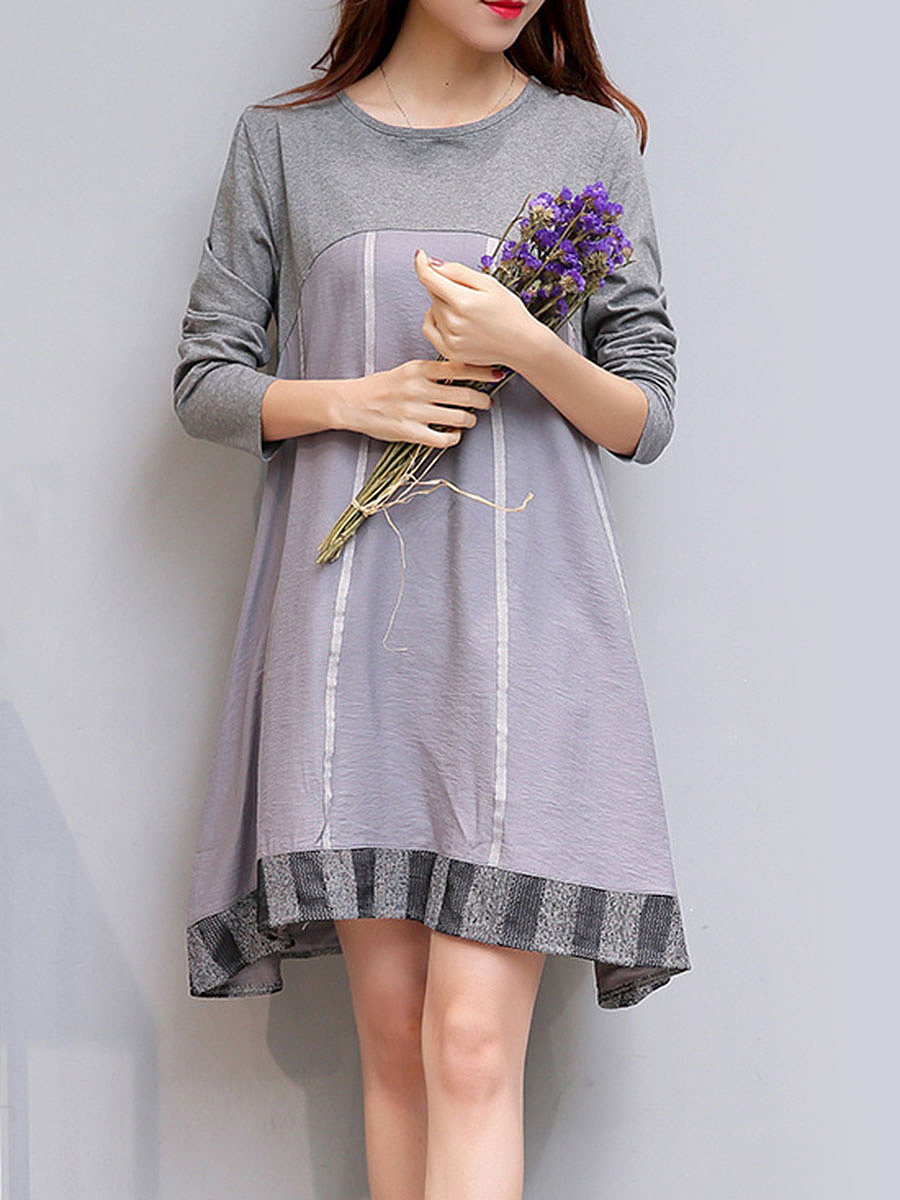 Round Neck  Patchwork  Printed  Cotton/Linen Shift Dress