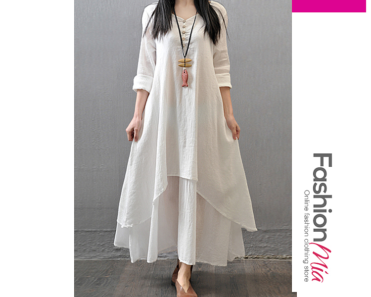 material:cotton/linen, collar&neckline:v-neck, sleeve:long sleeve, pattern_type:plain, length:ankle-length, occasion:casual,vacation, season:spring, lengthshoulderbust