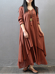 V-Neck Solid Double Layer No Pockets Maxi Dress