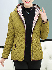 Hooded Quilted Pocket Plain Padded Coat