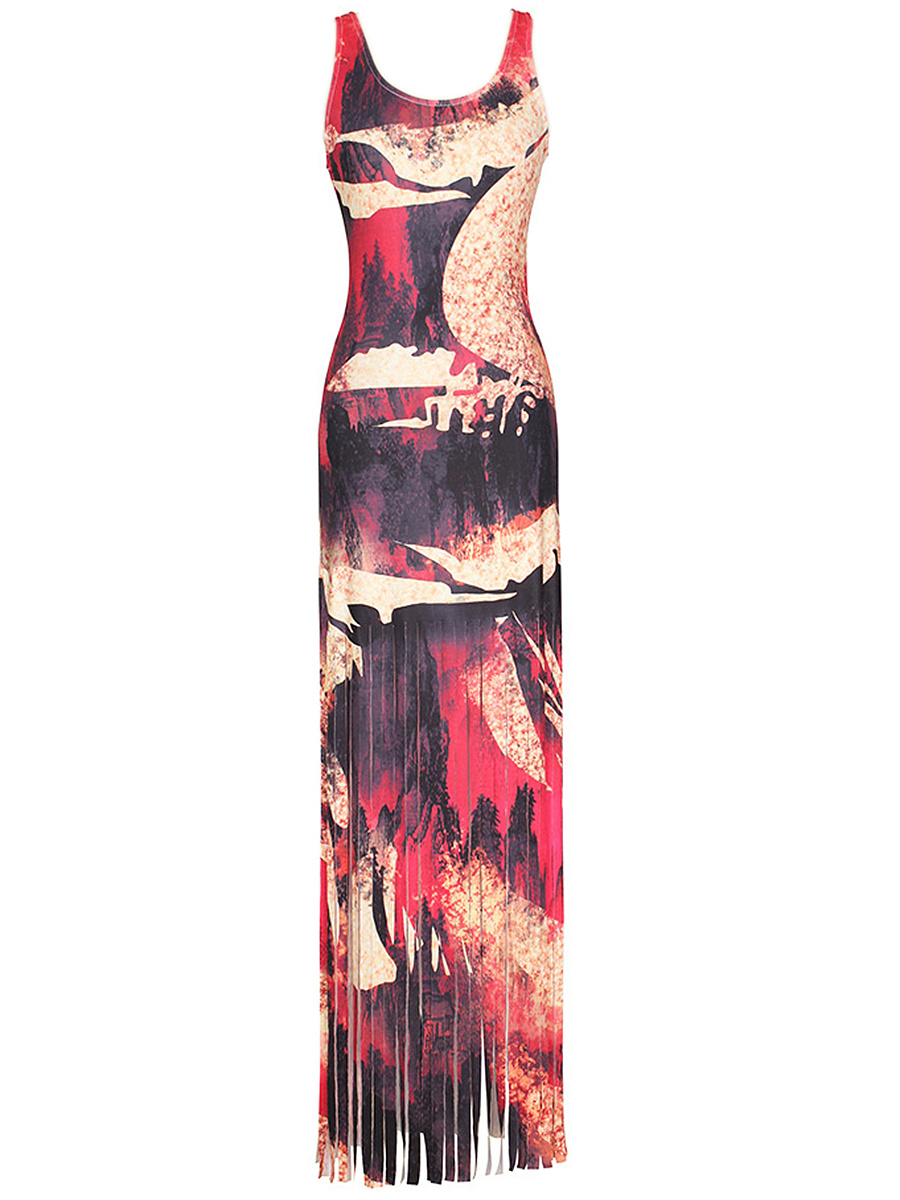 Special Scoop Neck  Fringe Racerback  Printed Maxi Dress