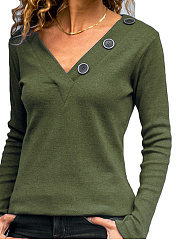 Autumn Spring  Polyester  Women  V-Neck  Decorative Button  Plain Long Sleeve T-Shirts