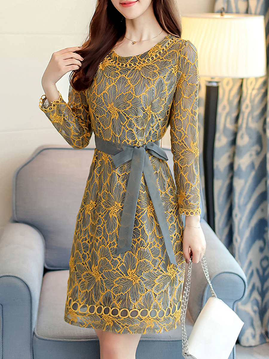Round Neck Belt Hollow Out Lace Bodycon Dress