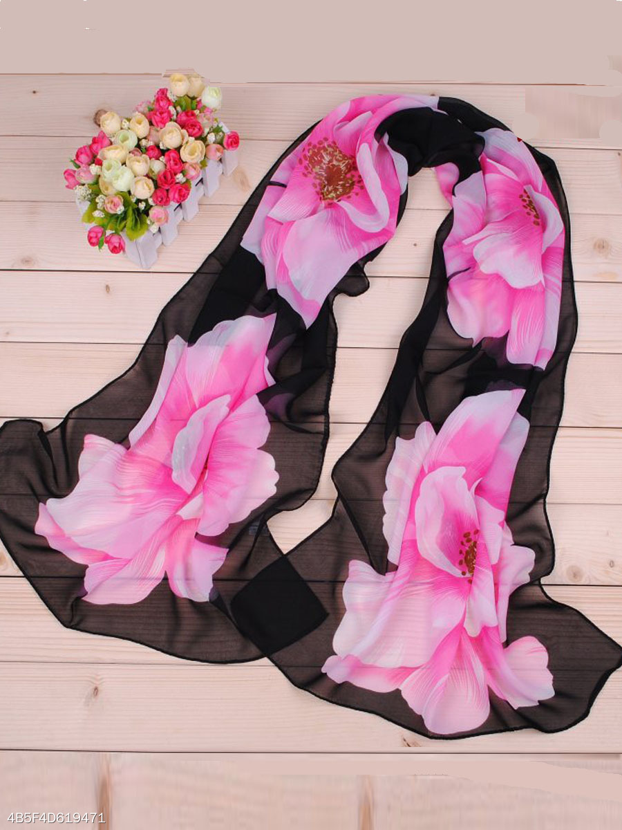 Grace Foral Printed Chiffon Scarf