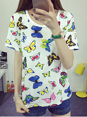 Polyester  Round Neck  Printed  Short Sleeve Short Sleeve T-Shirts